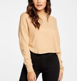 Chaser Chaser Gauzy Funnel Neck L/S Top LATTE
