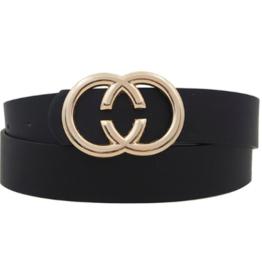 Girly Reverse C Ring Belt BLK