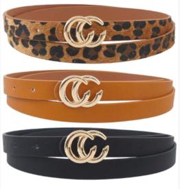 Girly Double C Skinny Belt Set LEO/BLK/COG