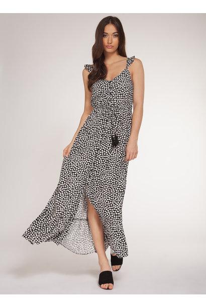 Ditsy Floral Print Maxi Dress BLK