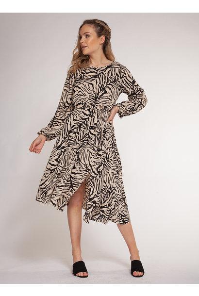 Long Sleeve Asym Print Midi Dress TAU