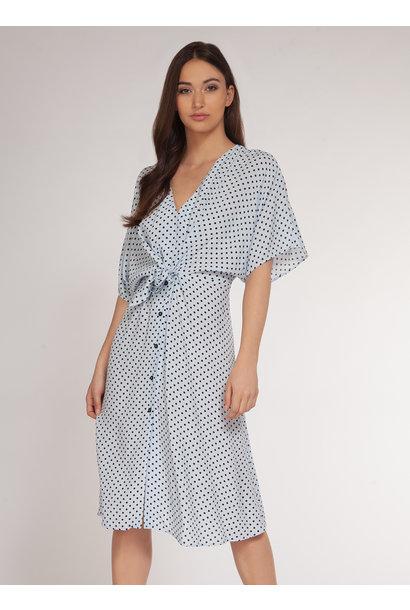 Dot Tie Front Midi Dress BLU