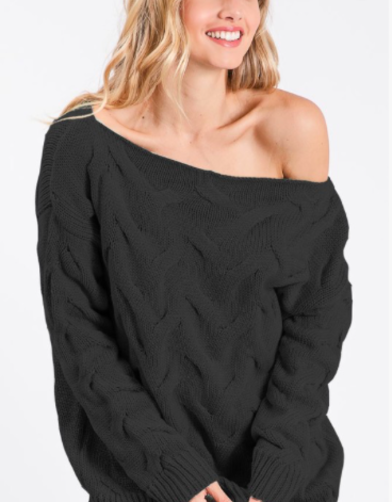 Macaron Cable Off Shoulder Sweater
