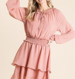 Bibi Dot L/S Pesant Dress BLSH