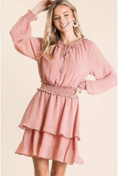 Dot L/S Pesant Dress BLSH