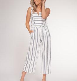 Black Tape Stripe Stretch Jumpsuit NVY/WHT