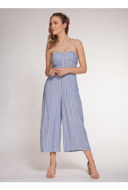 Stripe S/L Jumpsuit BLU