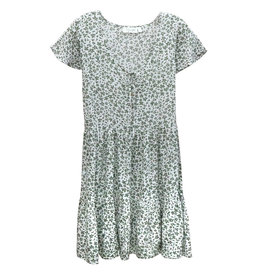 RD Style Floral Button Tier Dress GRN