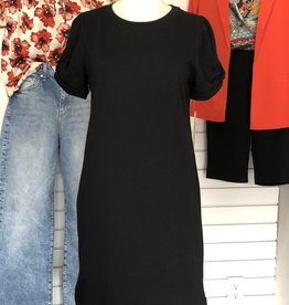 RD Style Ruch Sleeve Tee Dress BLK