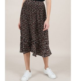 Molly Bracken Dot Pleat Midi Skirt BLK