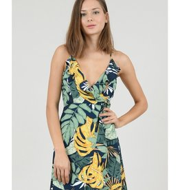 Molly Bracken Faux Wrap Tropics Maxi Dress