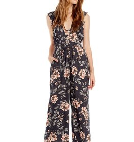 Saltwater Luxe Taylor Floral Open V Jumpsuit NVY