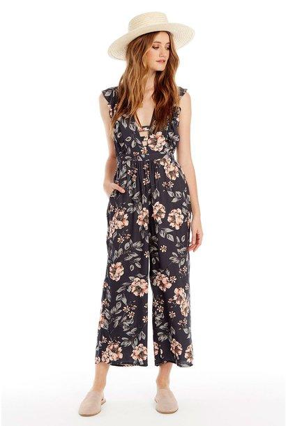 Taylor Floral Open V Jumpsuit NVY