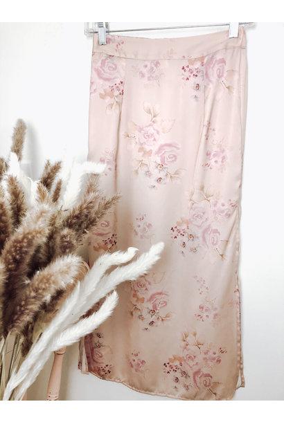 Gia Floral Slit Midi Skirt PNK