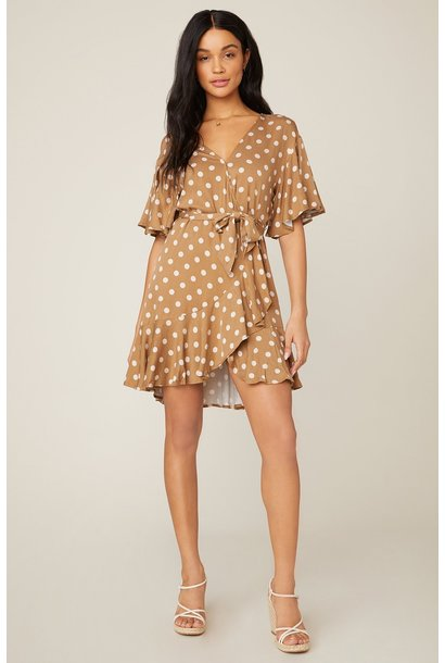 Butterscotch Bae Dot Dress BRN