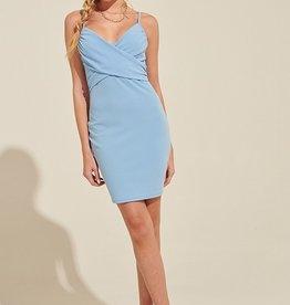 Blue Blush Twist Front Bodycon Dress BLU