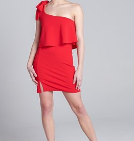Blue Blush 1 Shoulder Bodycon Dress RED