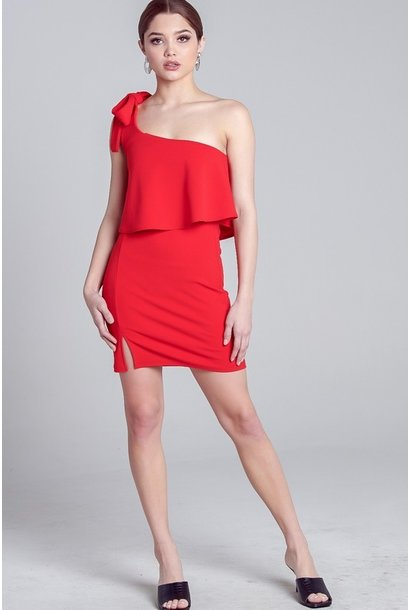 1 Shoulder Bodycon Dress RED