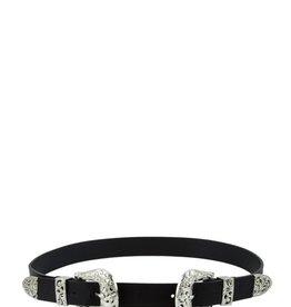 Girly Double Buckle Belt BLK/SIL