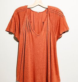 Free People Lovely Day Top REDTILE