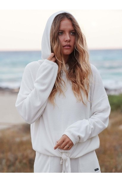 Staying In Ribbed Cozy Knit Hoodie WHT