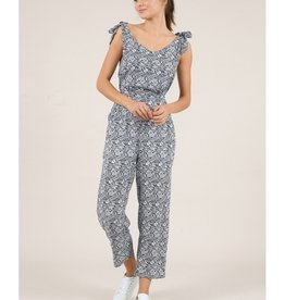 Molly Bracken Print Tie Shoulder Jumpsuit NVY