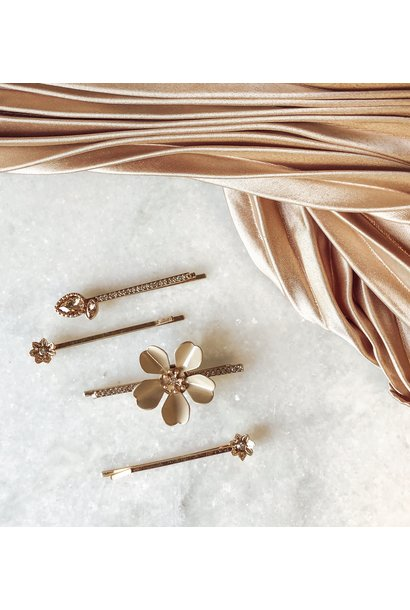4 Pack Large Flower Hair Pins GLD