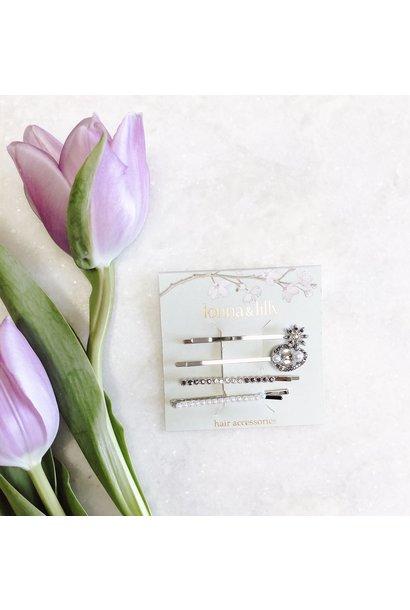 4 Pack Floral Hair Pins SIL