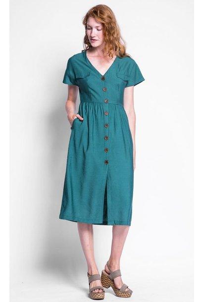 Darian Button Front Midi Dress GRN