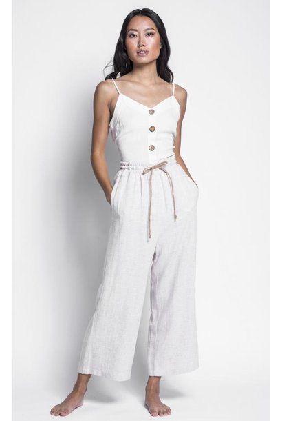 Martha Drawstring Linen Pant TAN