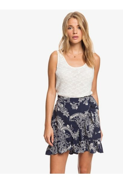 Yellow Halo Floral Wrap Skirt NVY