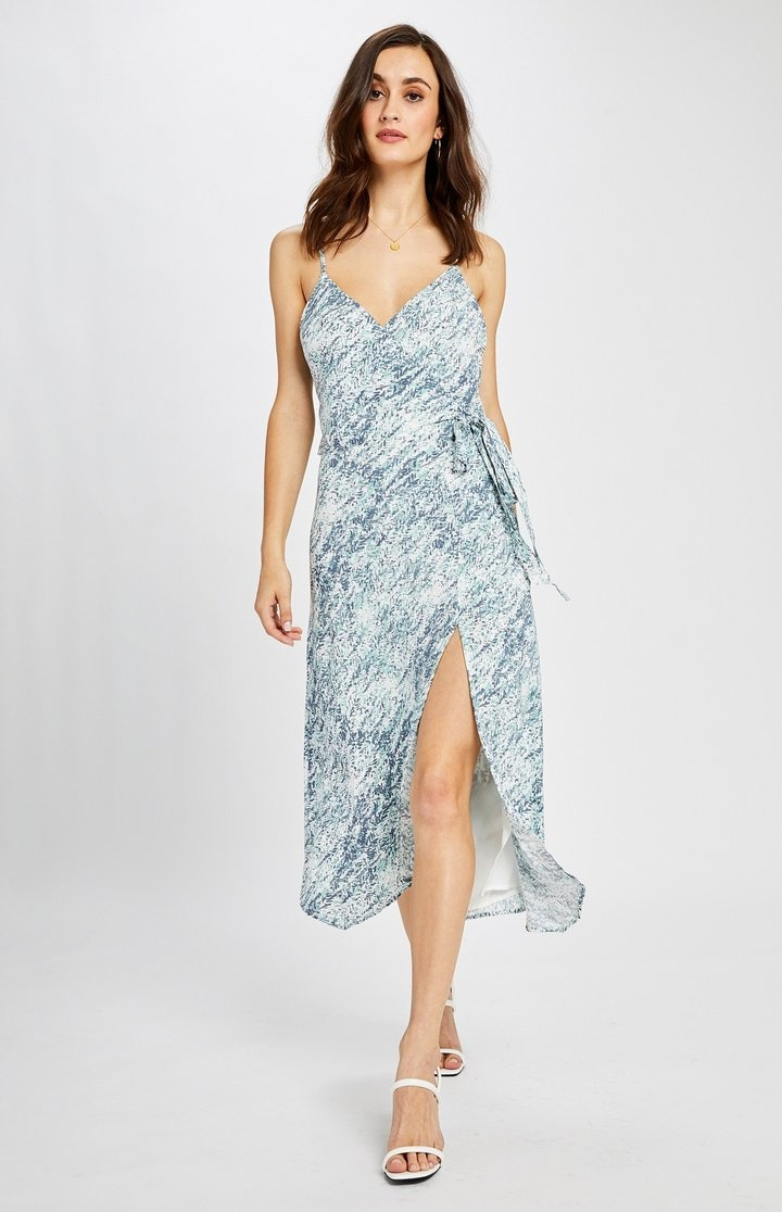Cancun Print Wrap Dress BLU-1