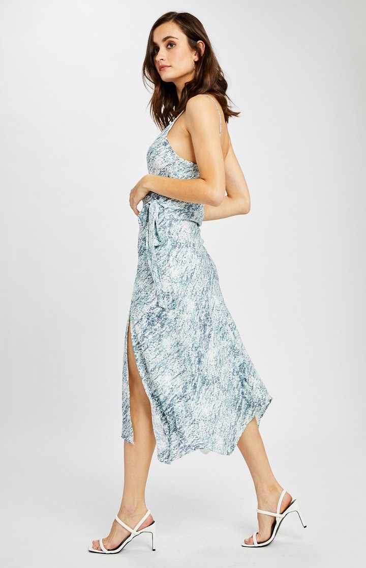 Cancun Print Wrap Dress BLU-2