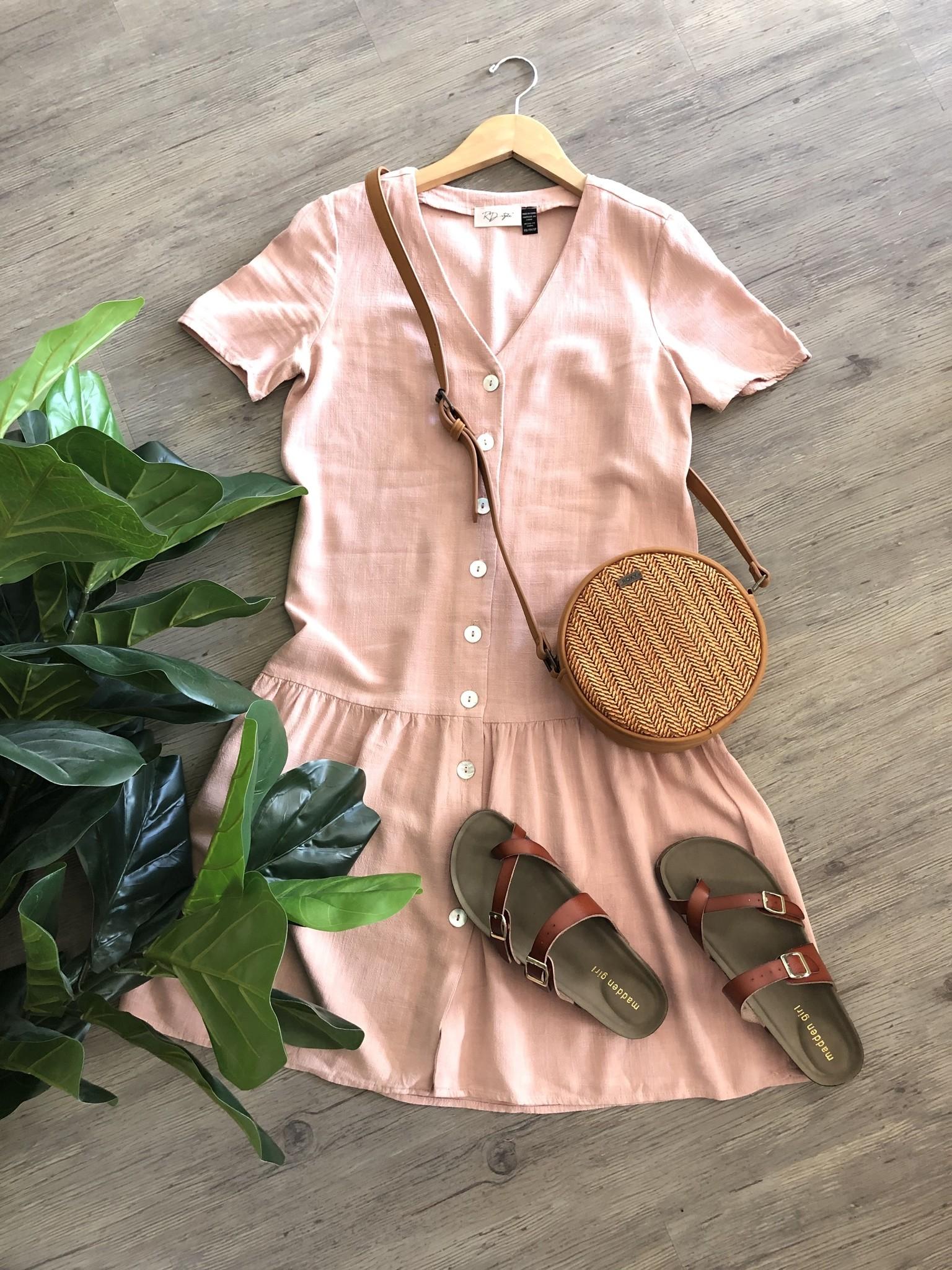 Button Front Dress PNK-1