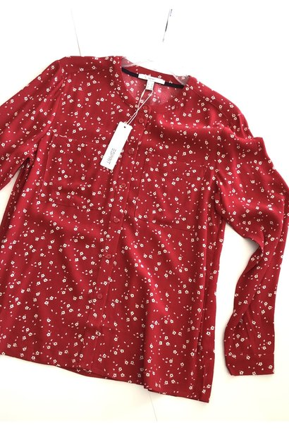 Floral Button Front Blouse RED