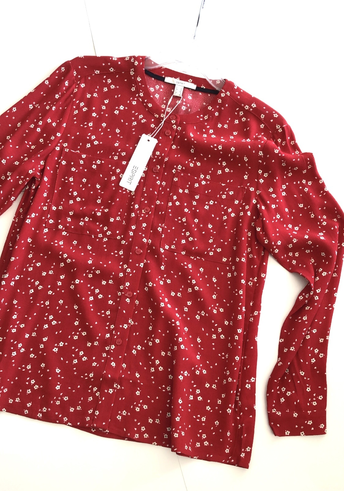 Floral Button Front Blouse RED-1