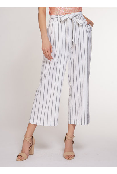 Stripe Belted Pant WHT