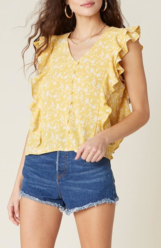 All The Frills Top YEL-1