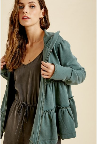Tiered Zip Up Hoodie GRN