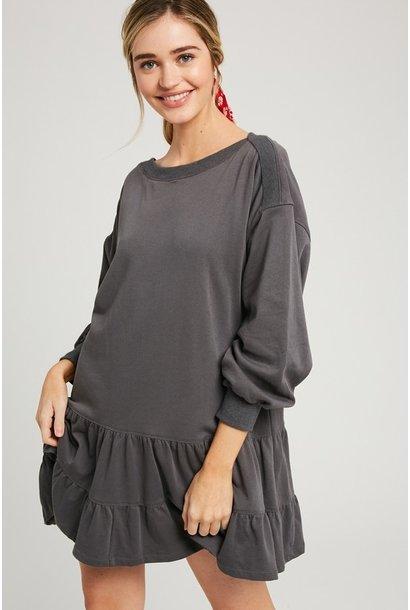 Ruffle Sweatshirt Dress CHAR