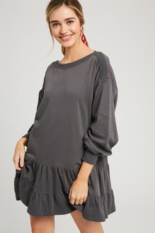 Ruffle Sweatshirt Dress CHAR-1