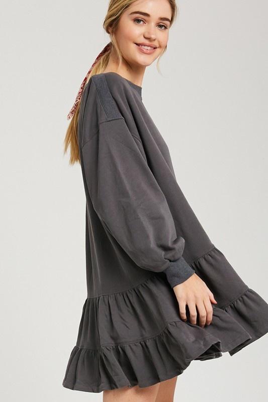 Ruffle Sweatshirt Dress CHAR-3