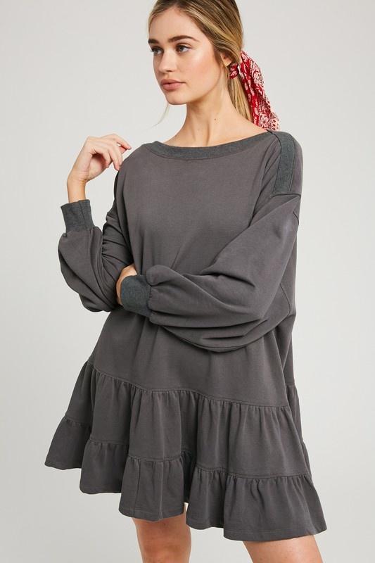 Ruffle Sweatshirt Dress CHAR-4