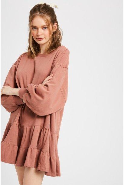 Ruffle Sweatshirt Dress RUST
