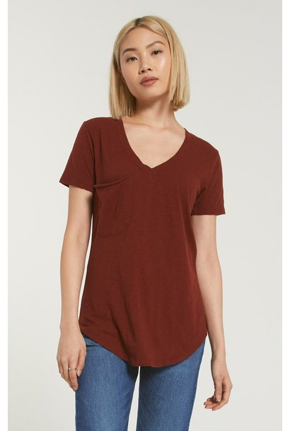 Cotton Slub Pocket Tee BRNT RED