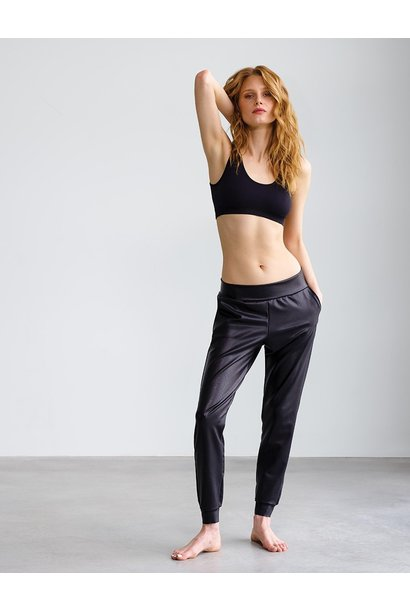 Faux Leather Jogger BLK