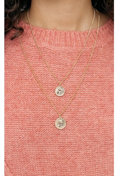 Club Manhattan Double Coin Necklace GLD