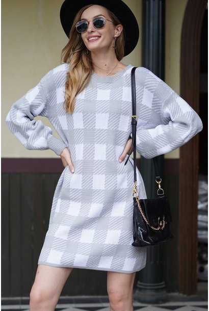 Plaid Sweater Dress GRY