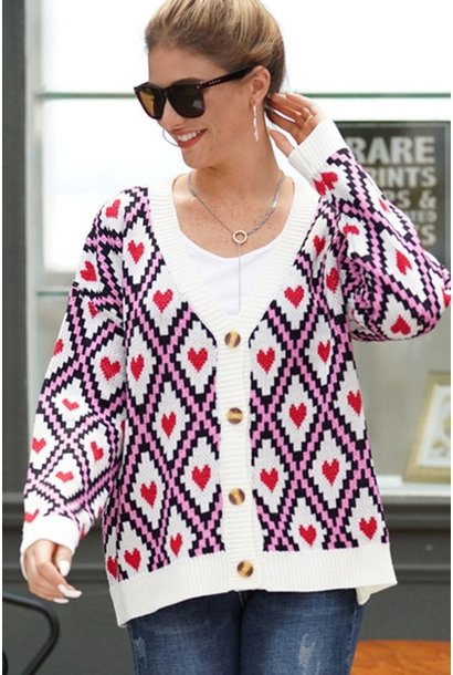 Queen of Hearts Cardi WHT