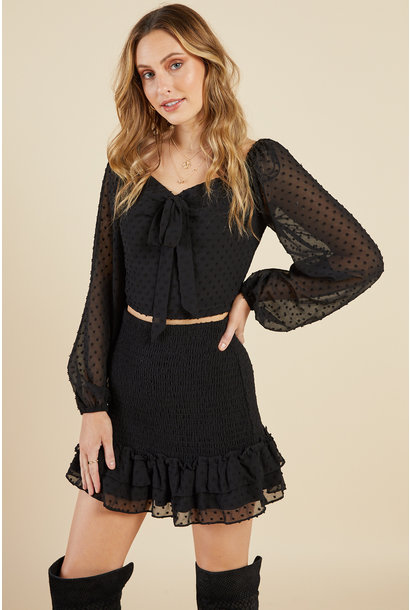 Ceremony Smocked Top BLK